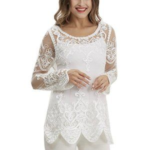 Simply Couture Lace Sheer Overlay Scalloped Tunic